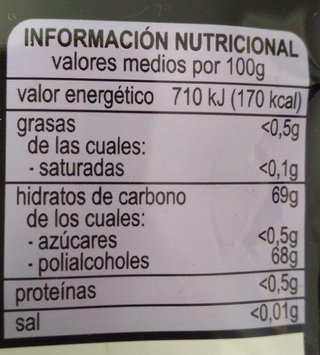 Chicles Regaliz/menta sin azúcar - Informations nutritionnelles - es