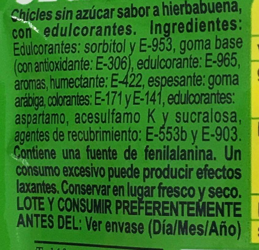 Chic*kles hierbabuena - Ingredientes