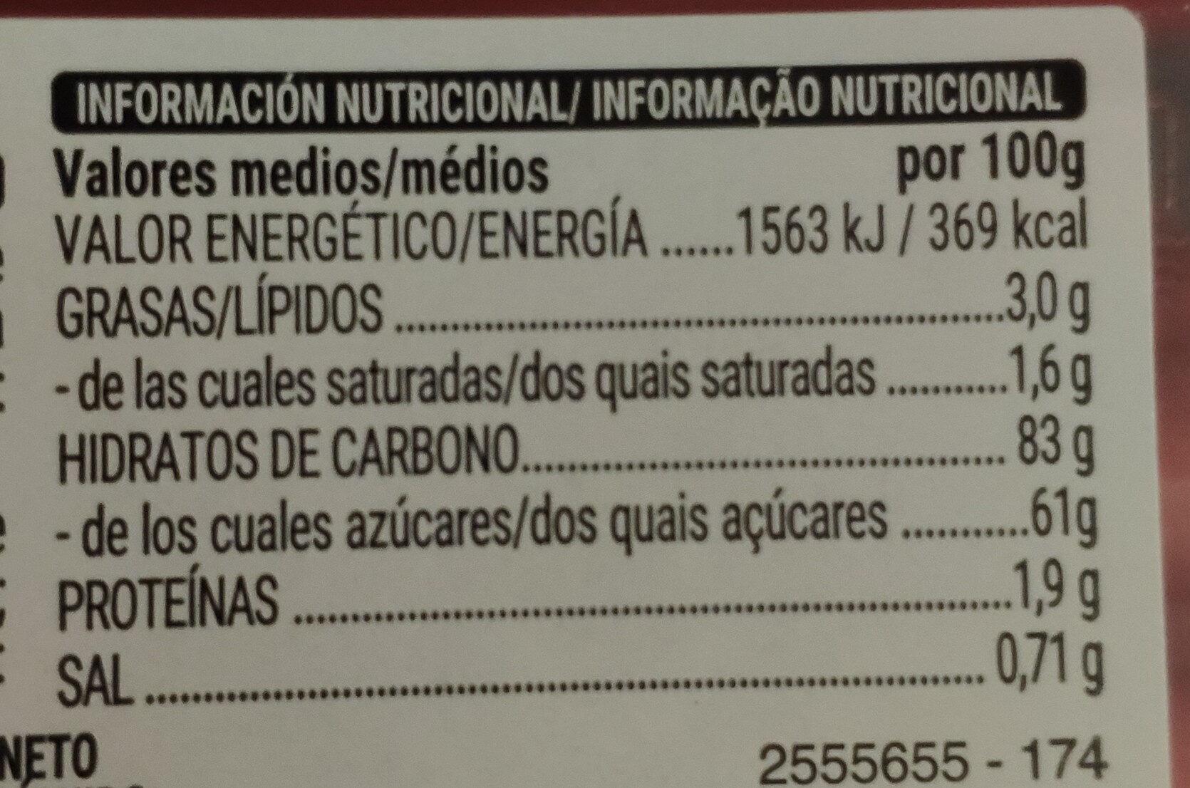 Tubos - Informazioni nutrizionali - es