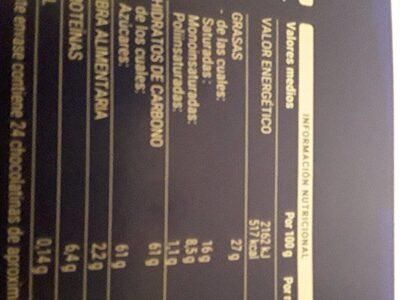 Calendario de adviento - Informations nutritionnelles