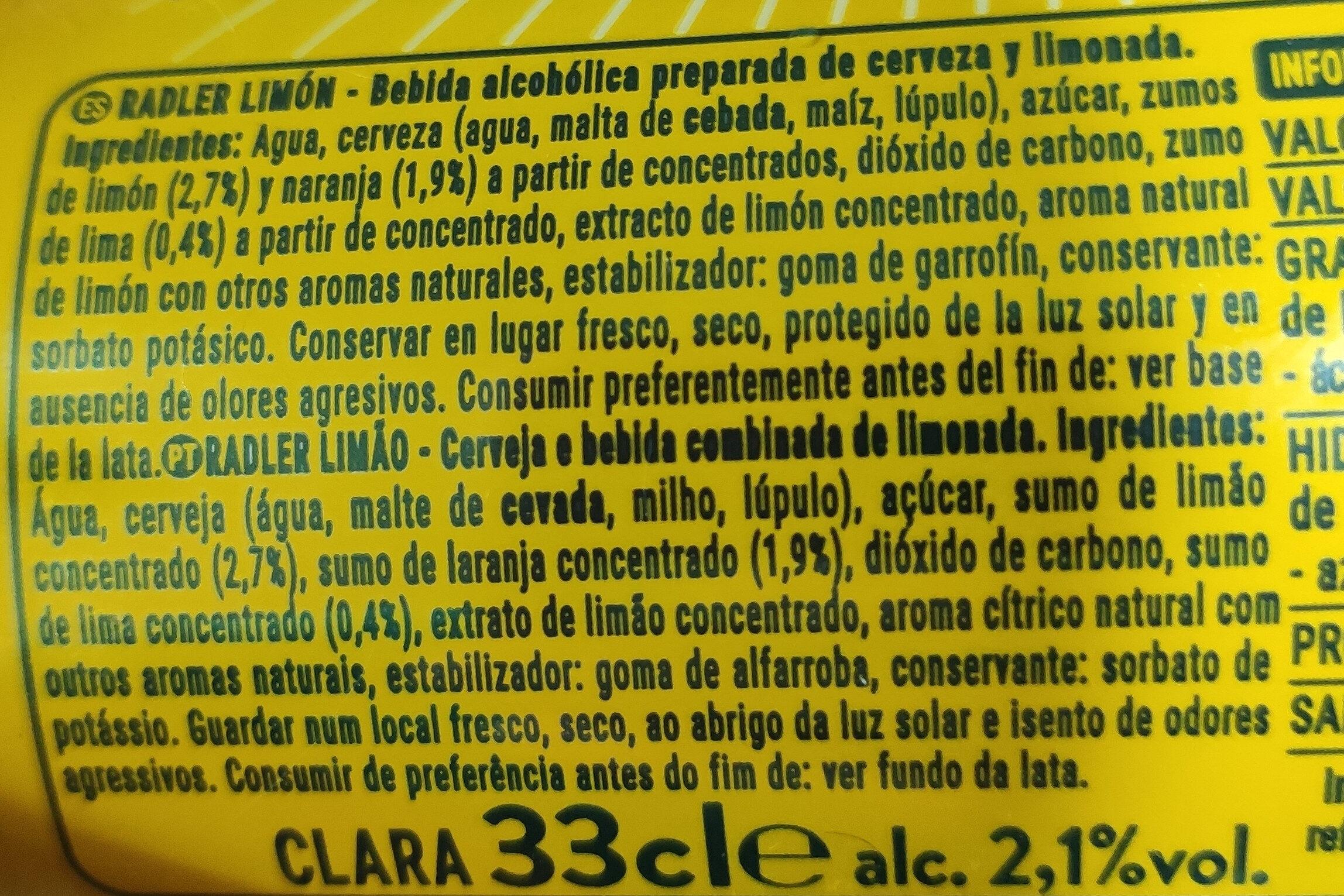 Radller - Ingredientes