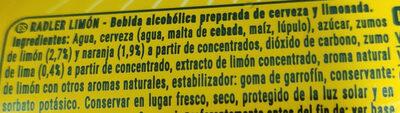 Radller - Ingredients - es