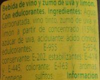 Tinto de verano sabor limón - Ingredientes