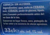 Steinburg Cerveza Sin - Ingredientes - es