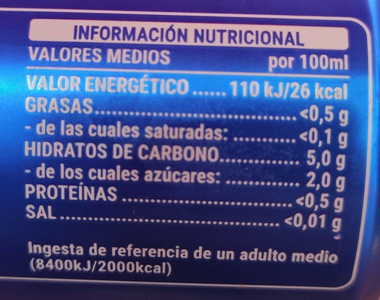 Steinburg Cerveza Sin - Información nutricional - es