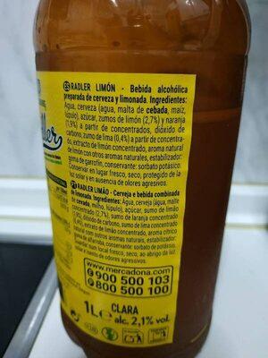 radler limon - Ingredientes