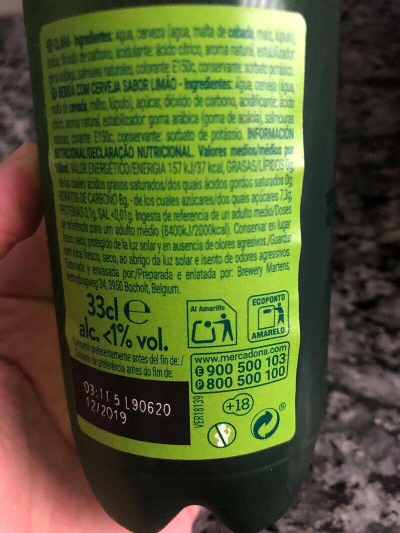 Shandy steinburg limon - Informació nutricional