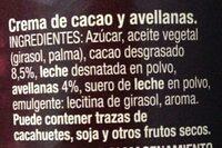 Crema al cacao - Ingredientes - es