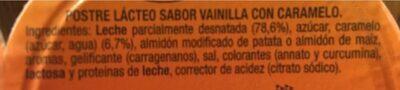 Flan de vanilla - Ingredients - es
