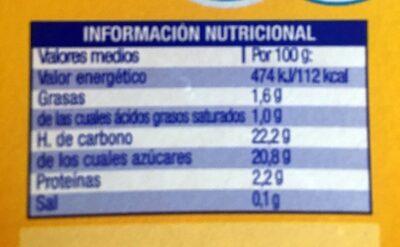 Flan de vanilla - Informació nutricional - es