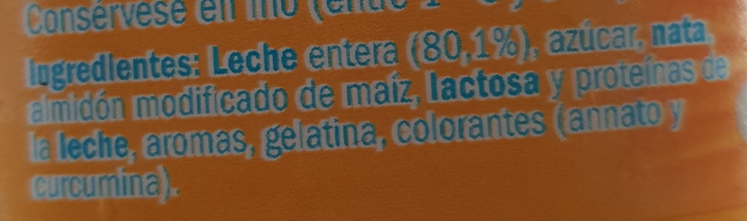 Natillas sabor vainilla - Ingrédients - fr