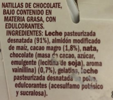 Natillas chocolate 0,9% - Ingredientes - es