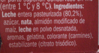 Natillas sabor fresa - Ingredientes