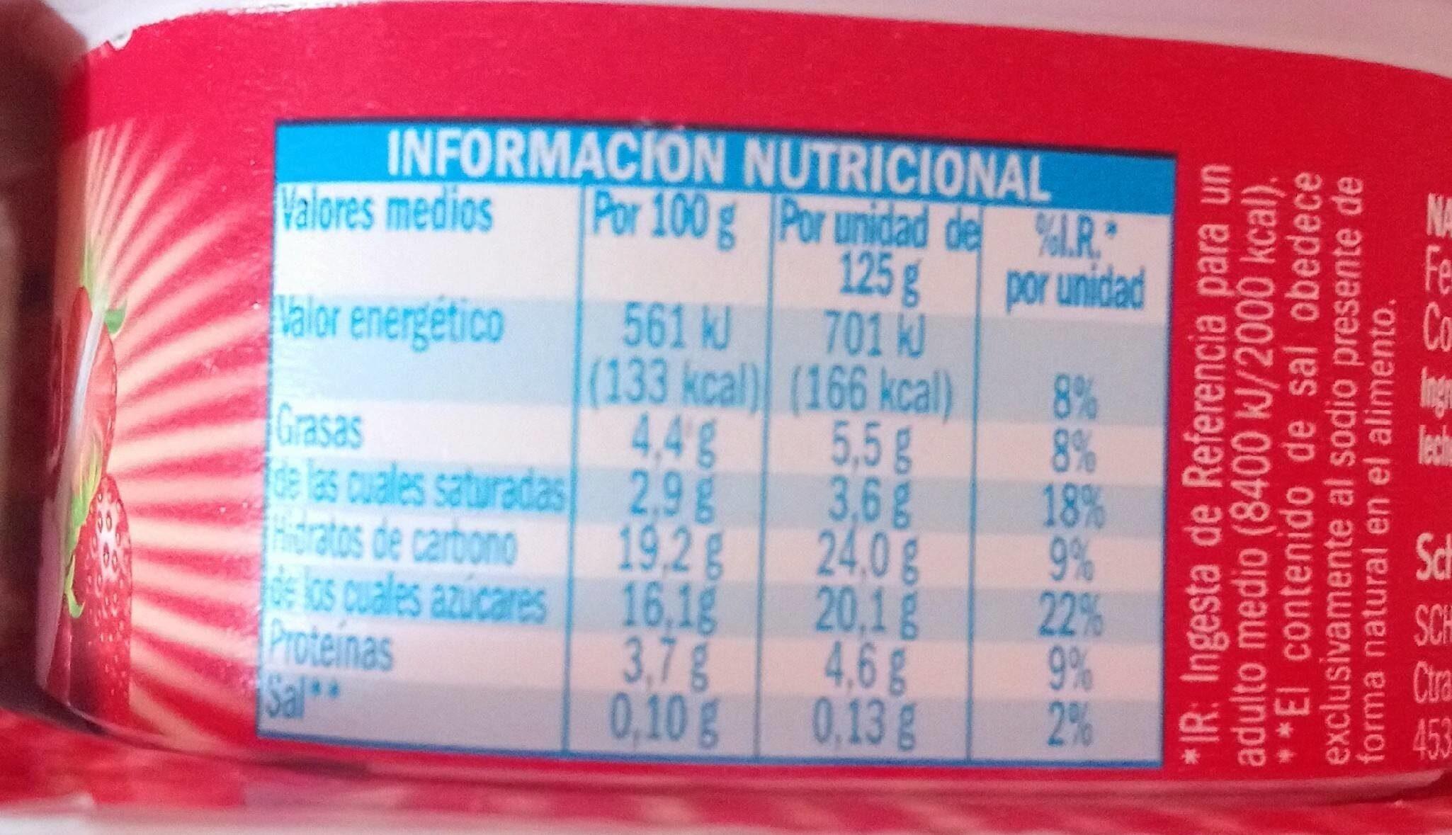 Natillas sabor fresa - Nutrition facts - es