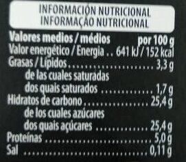Flan de huevo - Informació nutricional