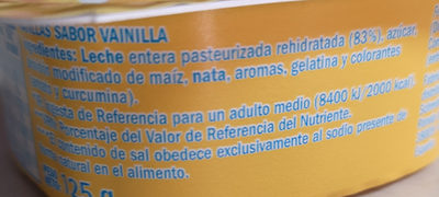 Natillas sabor vainilla - Ingredients - es