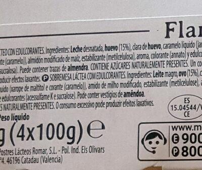 Flan de huevo - Ingredientes