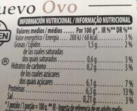 Flan de huevo sin azucares - Información nutricional - es