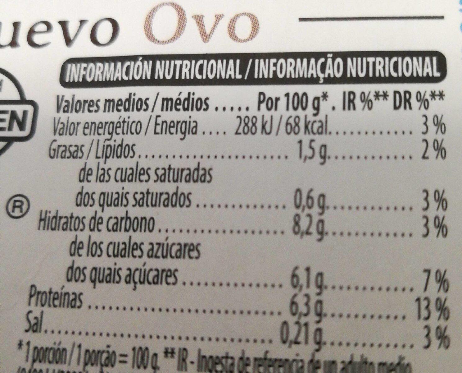 Flan de huevo - Información nutricional