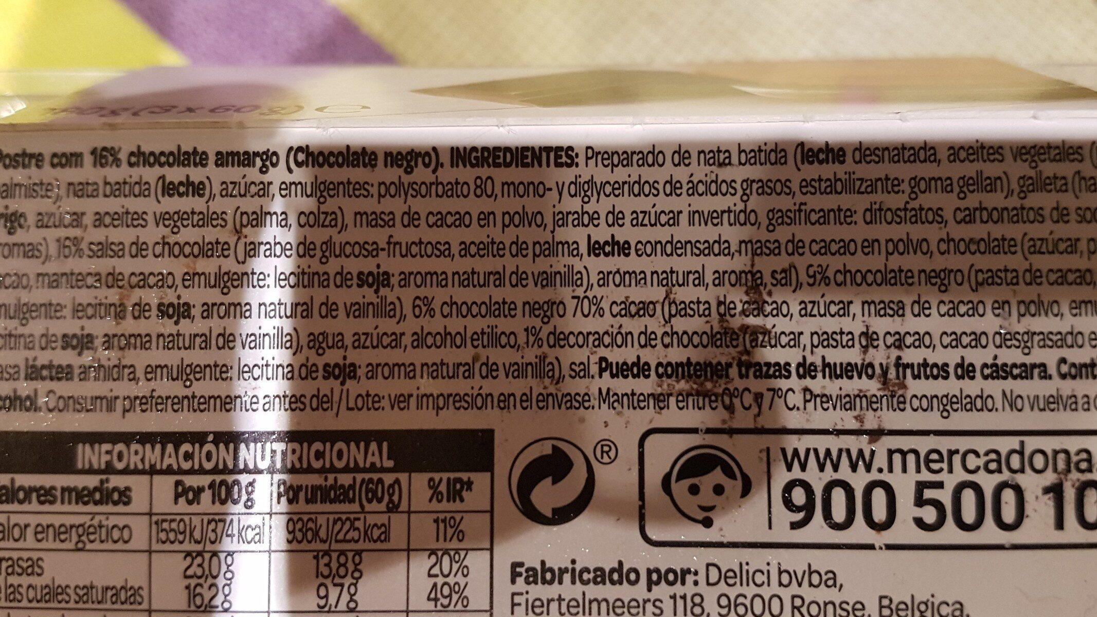 Postre triple chocolate - Ingredientes