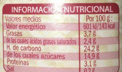 Arroz con leche - Voedingswaarden - es