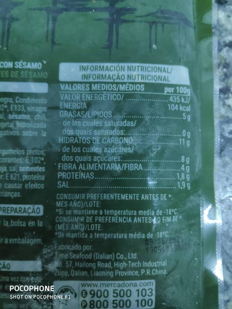 Wakame - Informations nutritionnelles