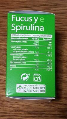 Fucus y eSpirulina - Informations nutritionnelles - es