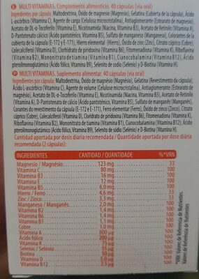 Multivitaminas - Nutrition facts