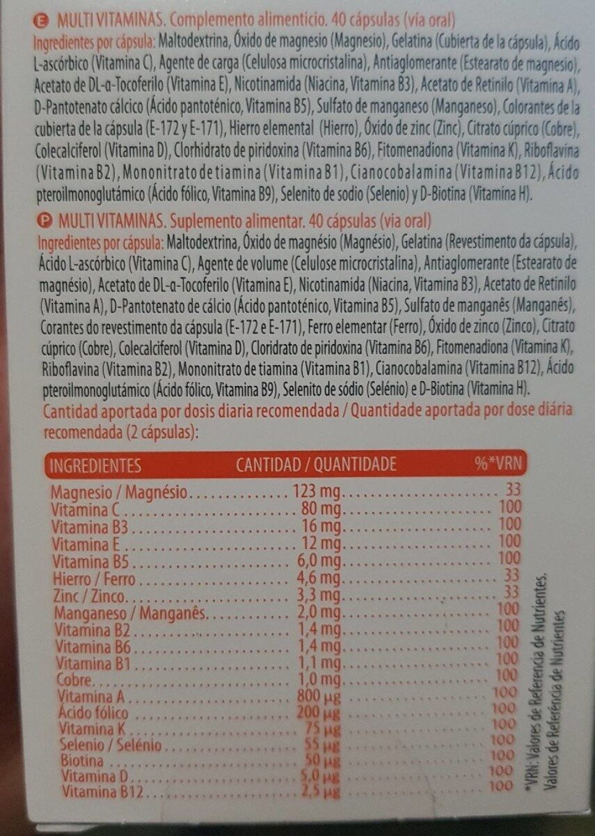 Multivitaminas Deliplus - Informació nutricional