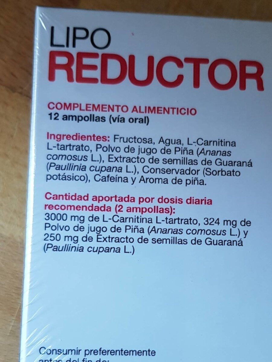 Lipo reductor - Informations nutritionnelles