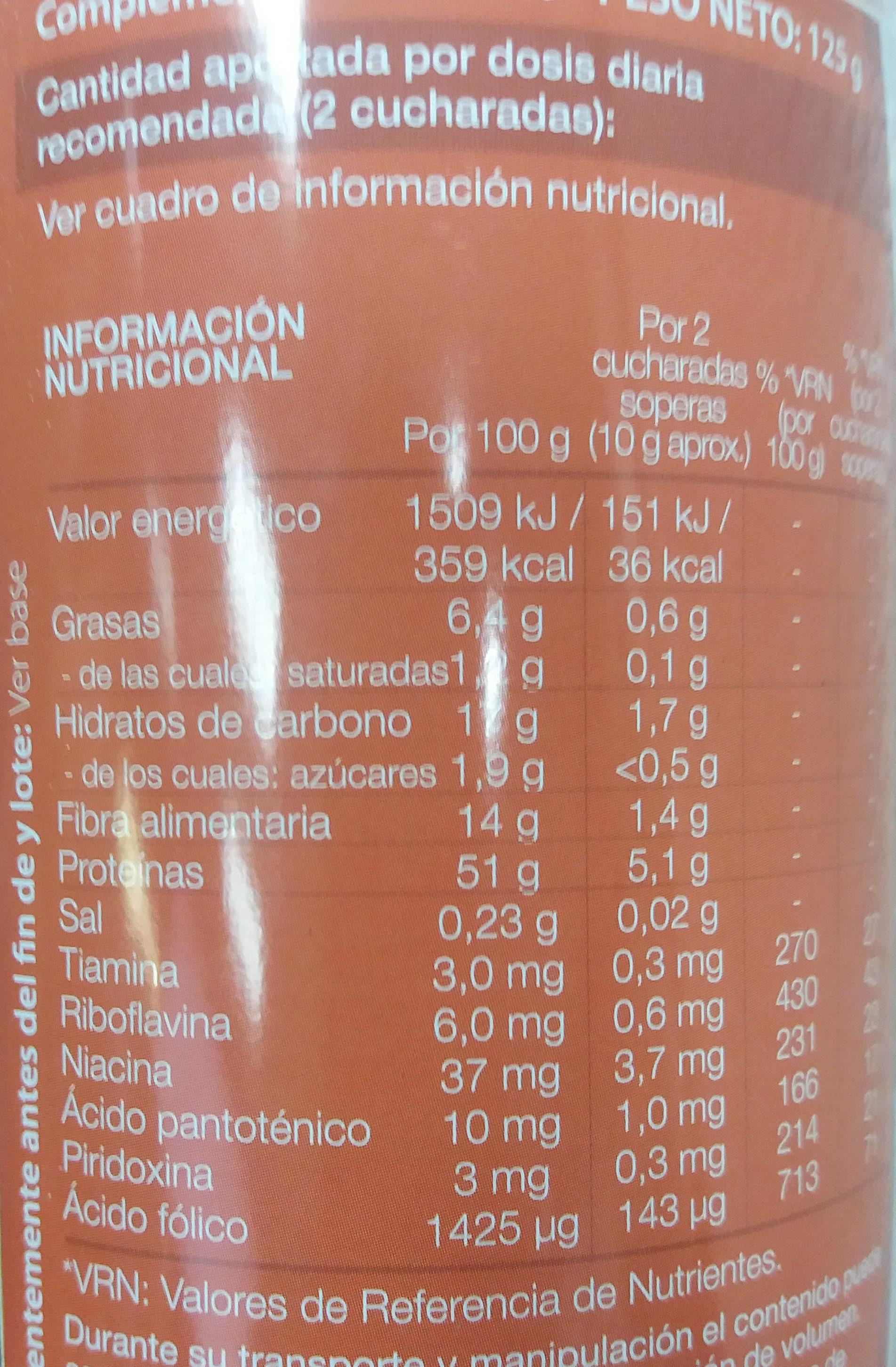 Levadura de cerveza - Informations nutritionnelles - es