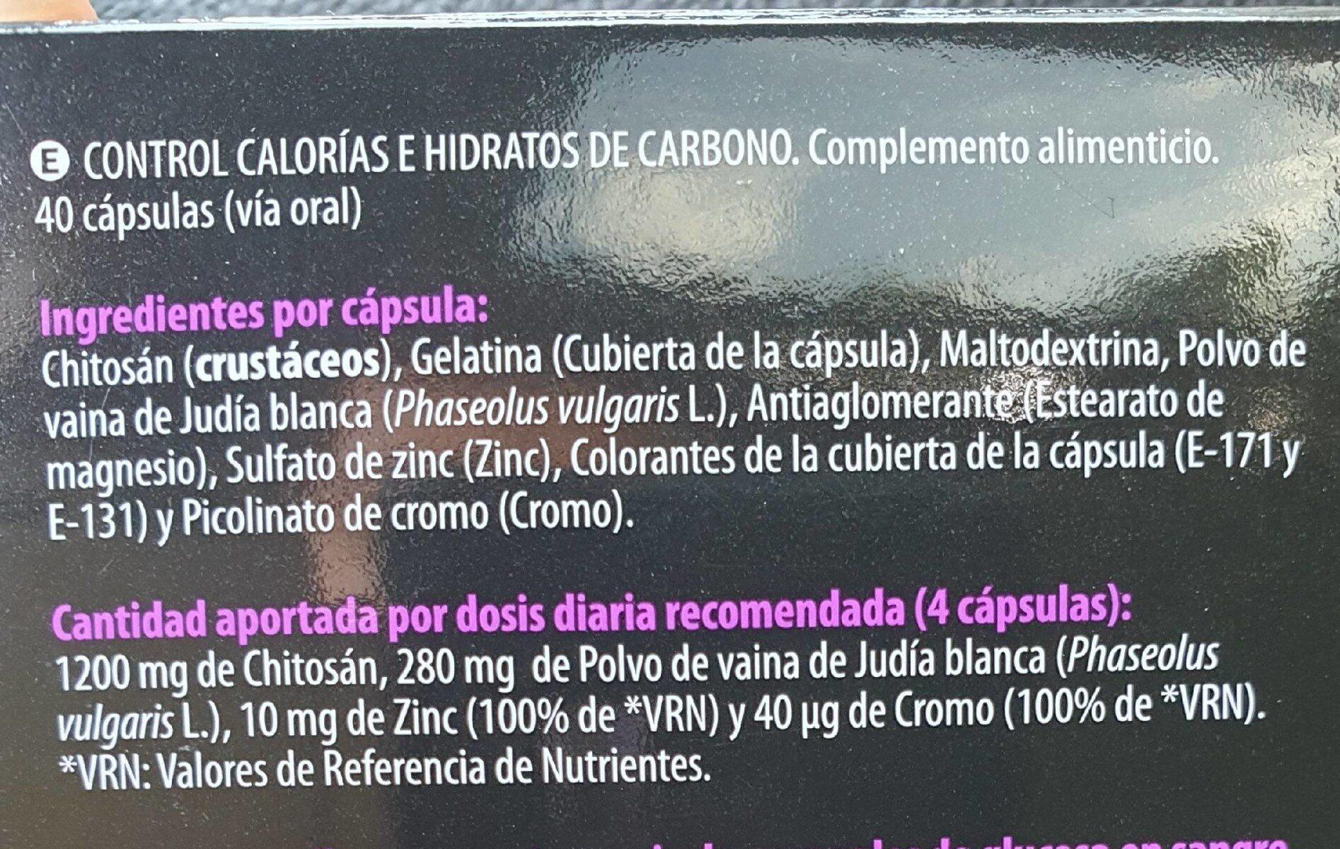 Control calorias - Nutrition facts - es
