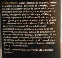 Sobres Natilla sabor chocolate - Ingredients