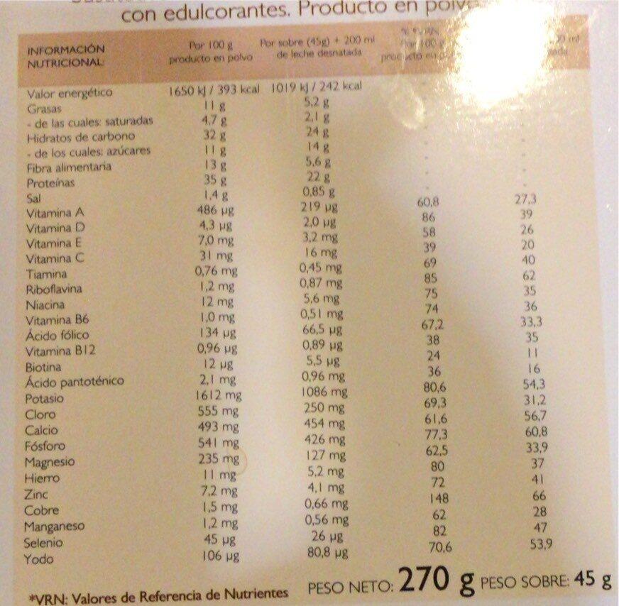 Sobres Natilla sabor chocolate - Información nutricional - es