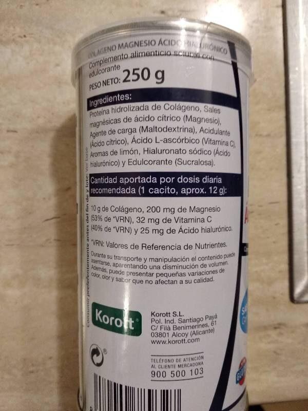 Colágeno magnesio Acido Hialurónico - Ingrédients