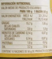 Manzanilla con hueso - Información nutricional