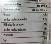 Sopa Miso 100% Vegetal - Información nutricional