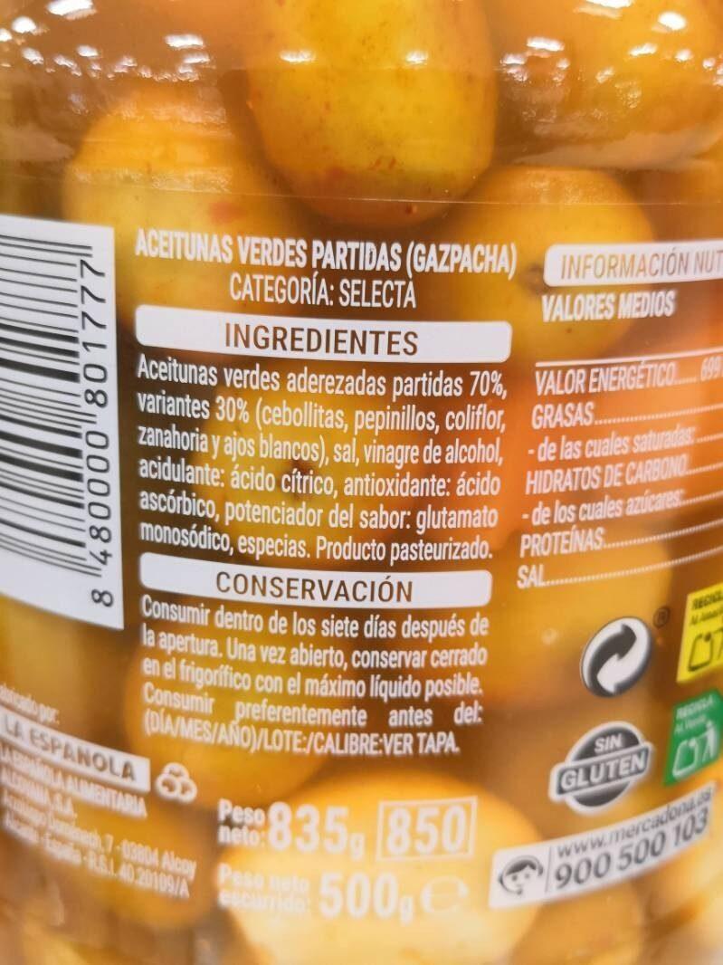 Aceitunas gazpacha - Ingredients - es
