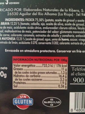 Patatas Bravas - Voedingswaarden