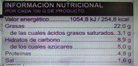 Ensaladilla cangrejo - Información nutricional - es