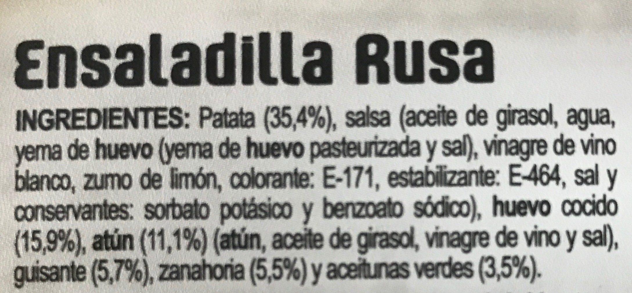 ensaladilla rusa - Ingrédients