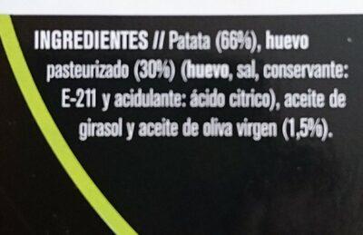Tortilla fresca de patata - Ingredientes - es
