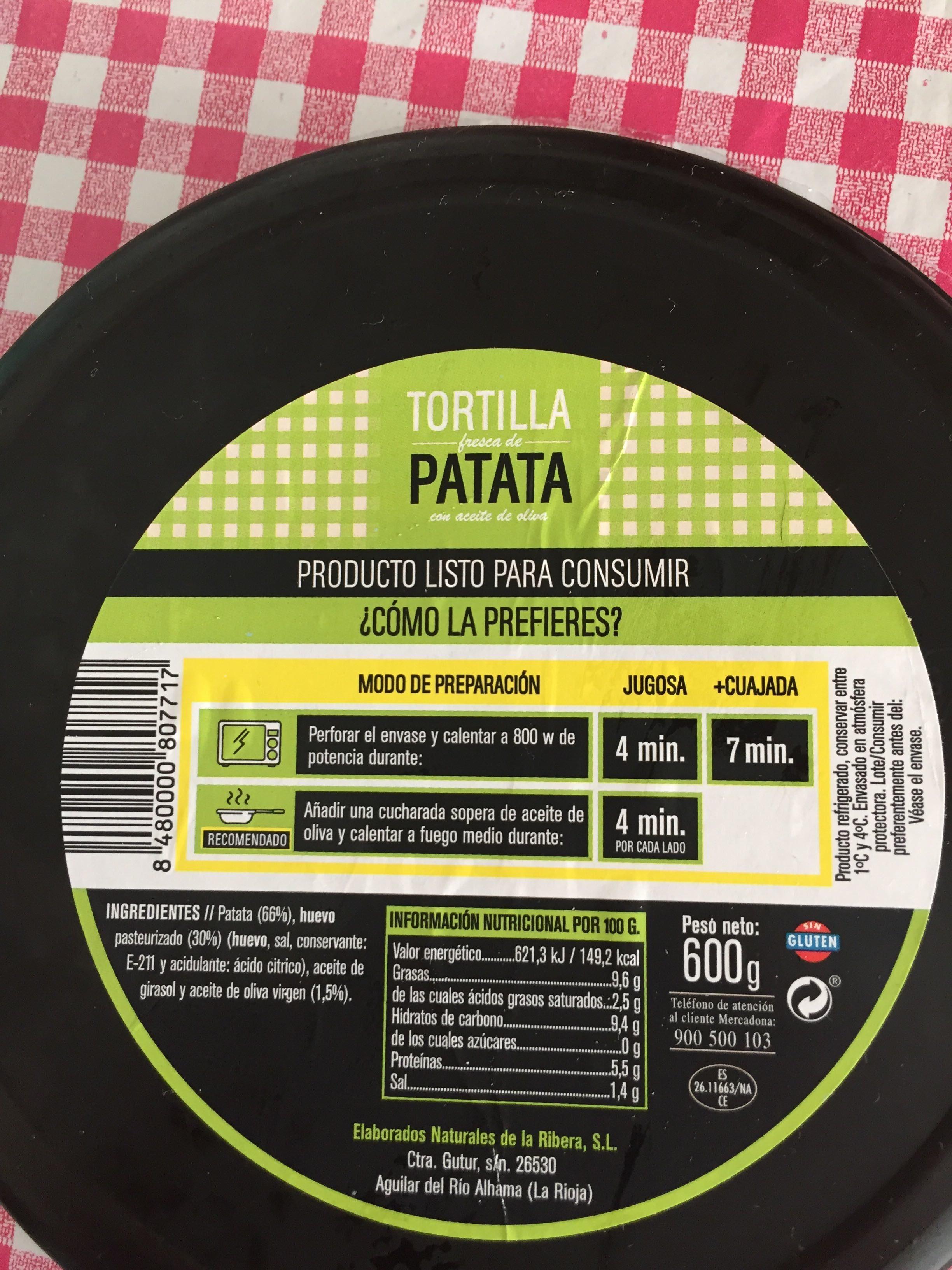Tortilla fresca de patata - Información nutricional - es
