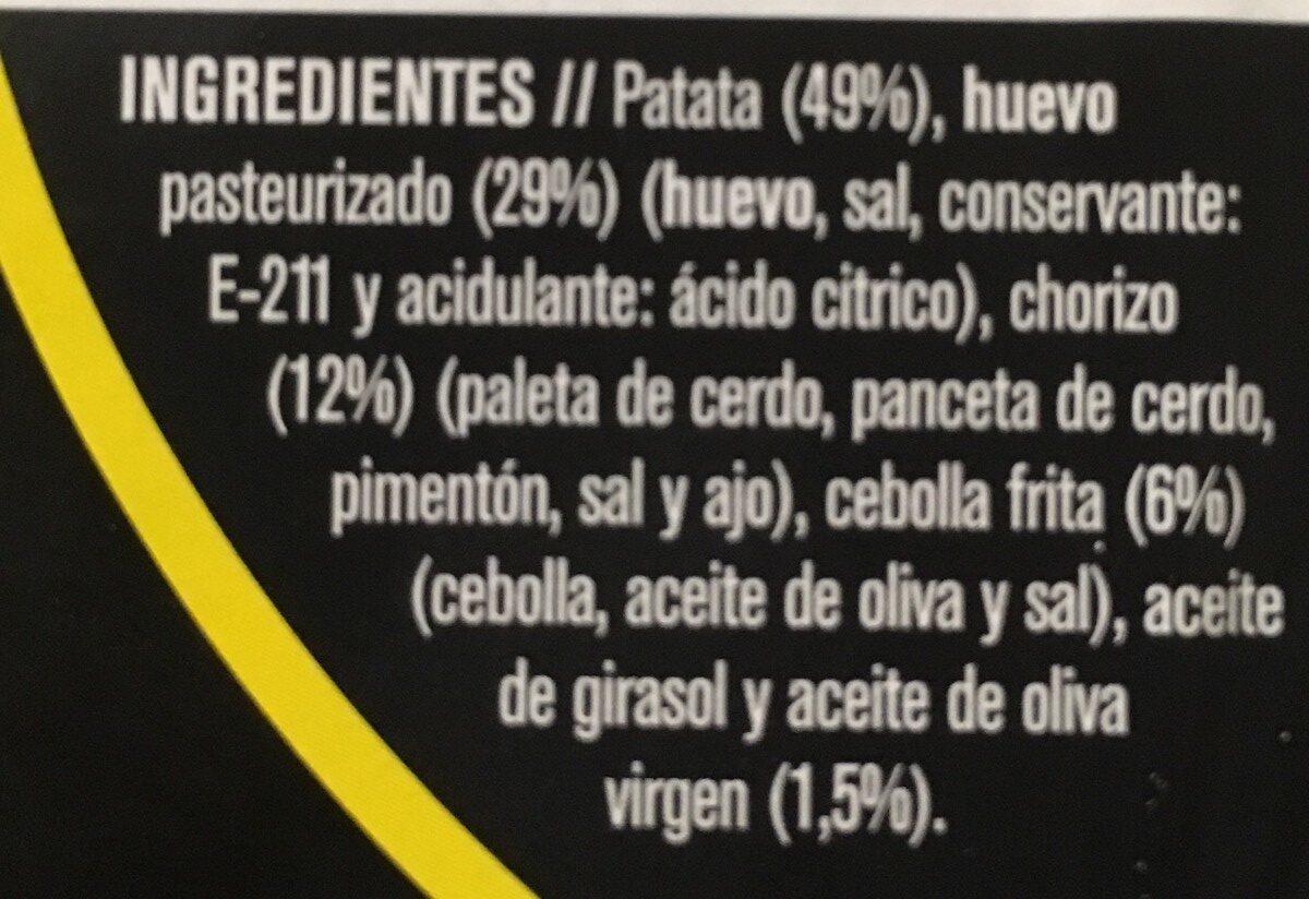 Tortilla Patata con chorizo - Ingrédients - fr