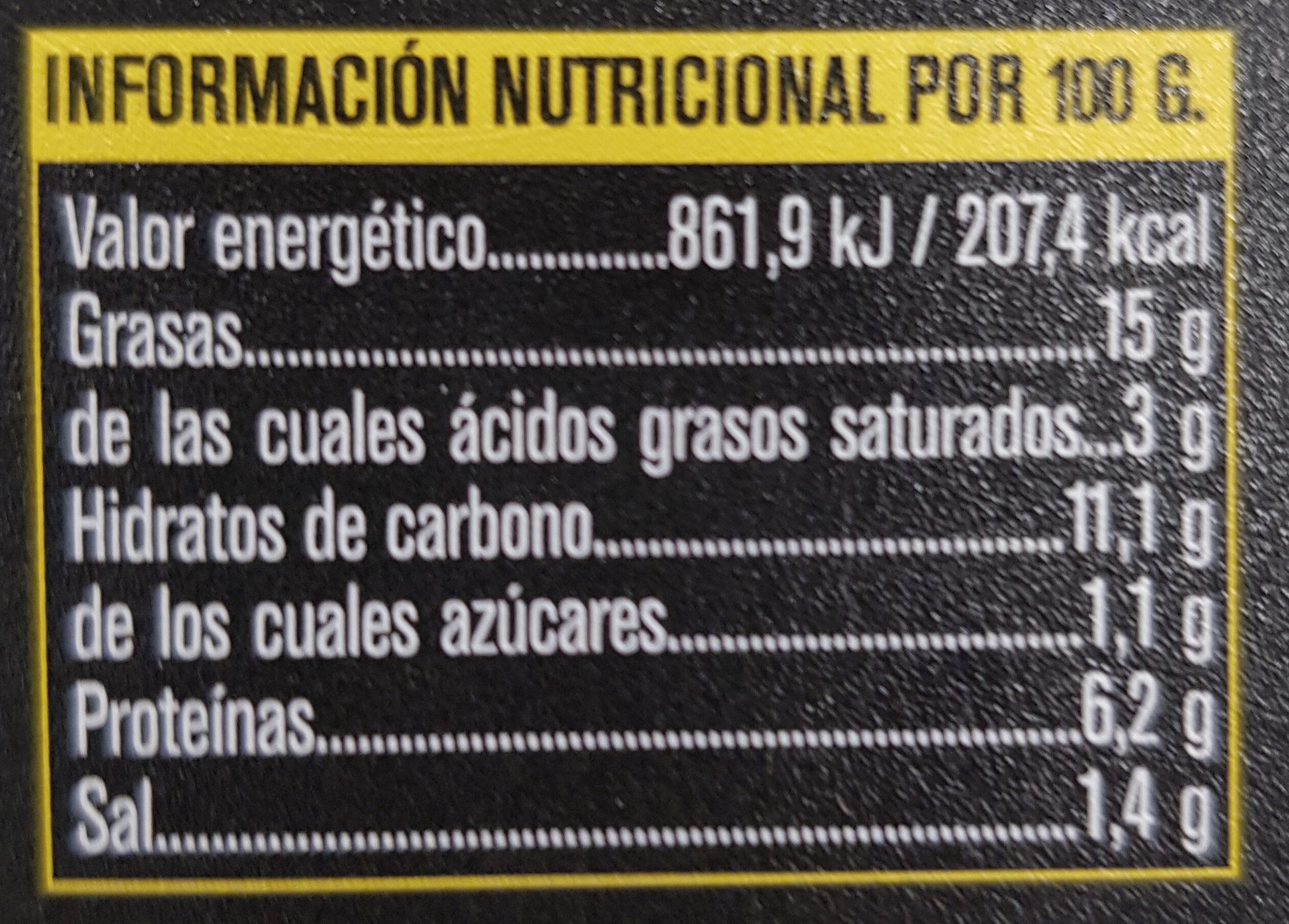 Tortilla Patata con chorizo - Informations nutritionnelles - es