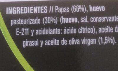 tortilla de papas - Ingredientes