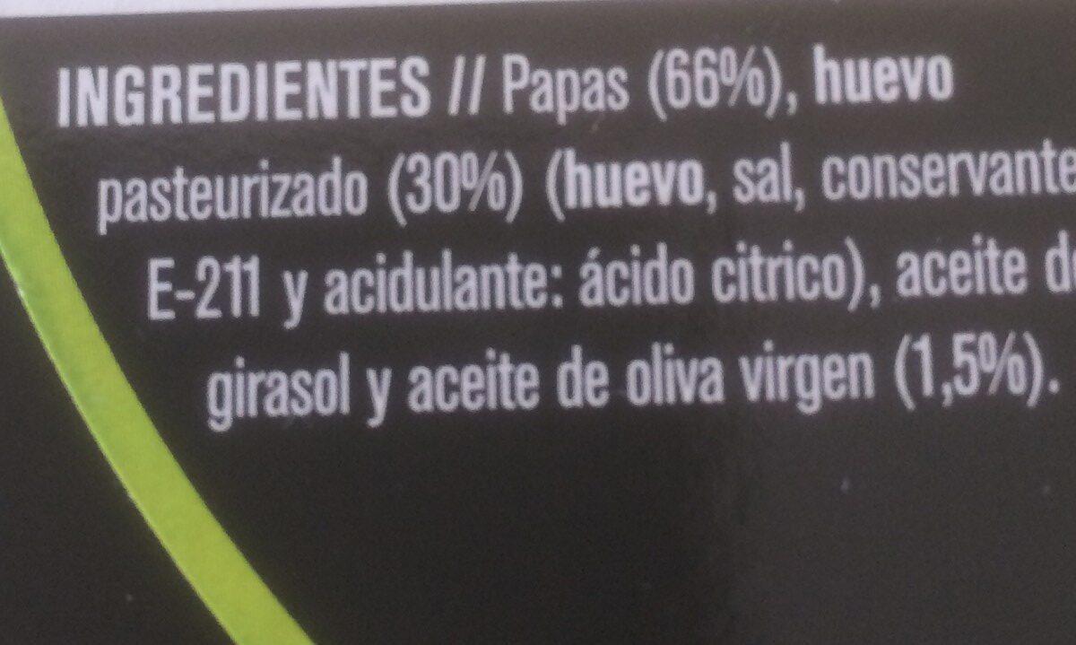 tortilla de papas - Ingredients
