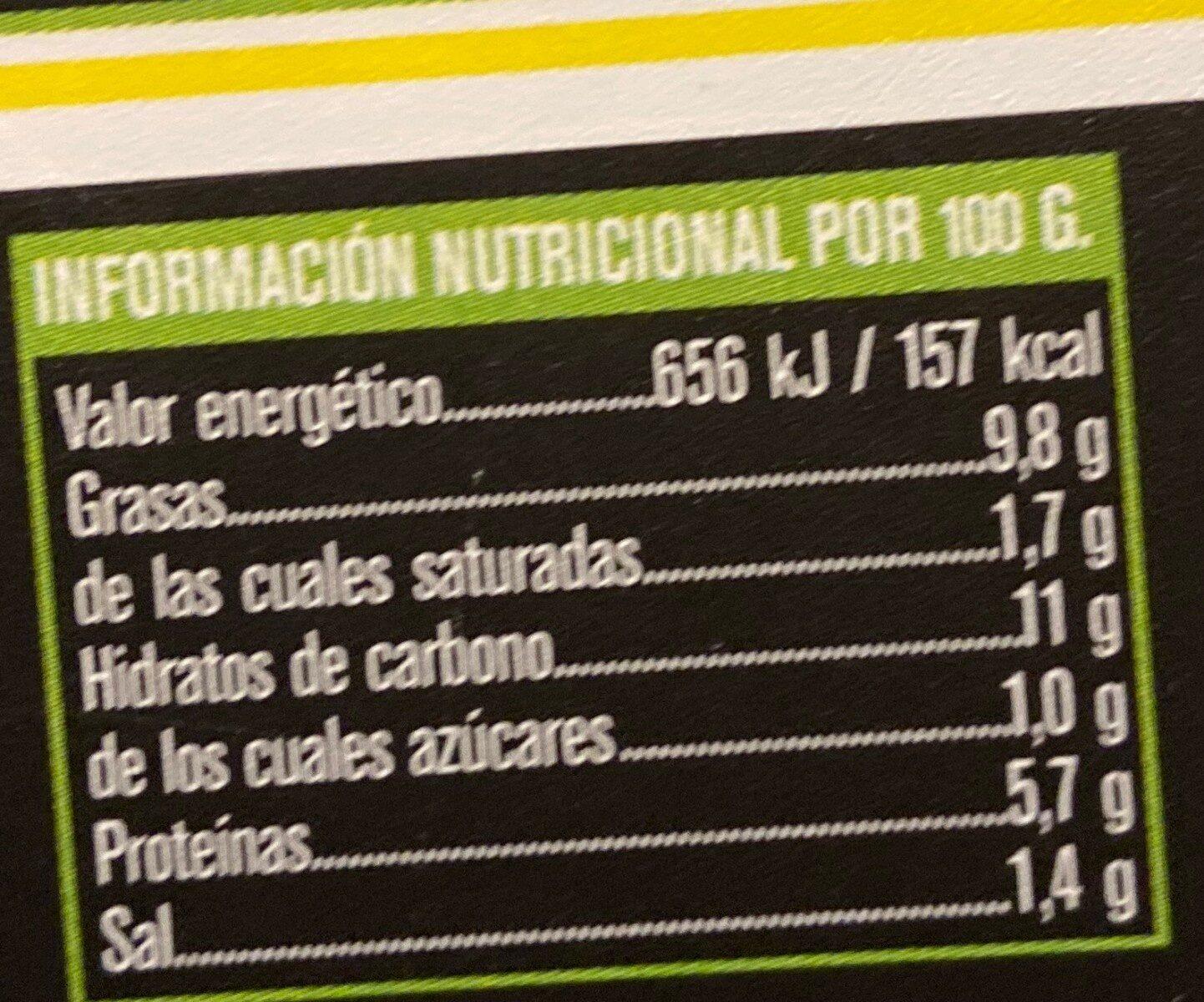 Tortilla fresca de papas - Voedingswaarden - es