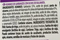Hummus con olivas de kalamata - Ingredients - es