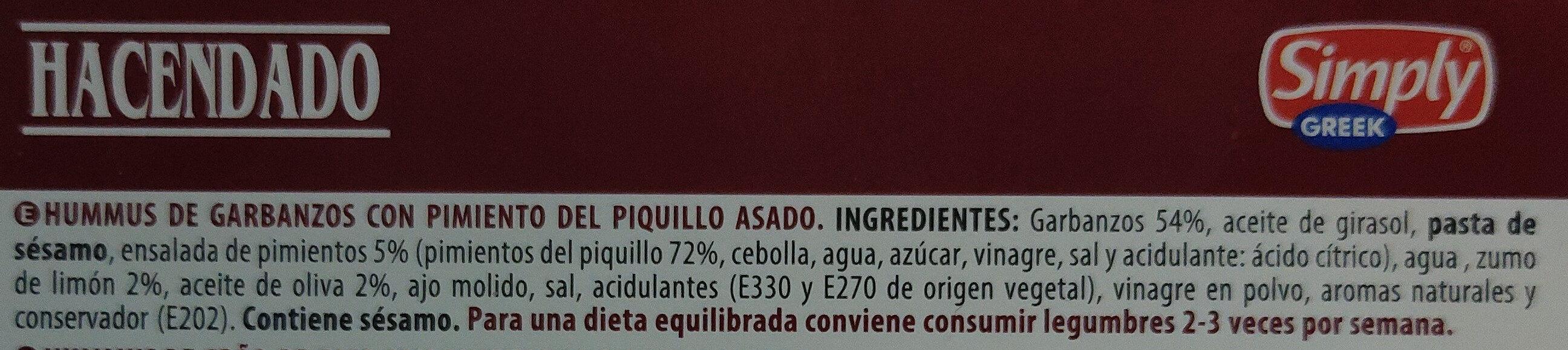 Hummus con pimiento del piquillo - Ingredients - es